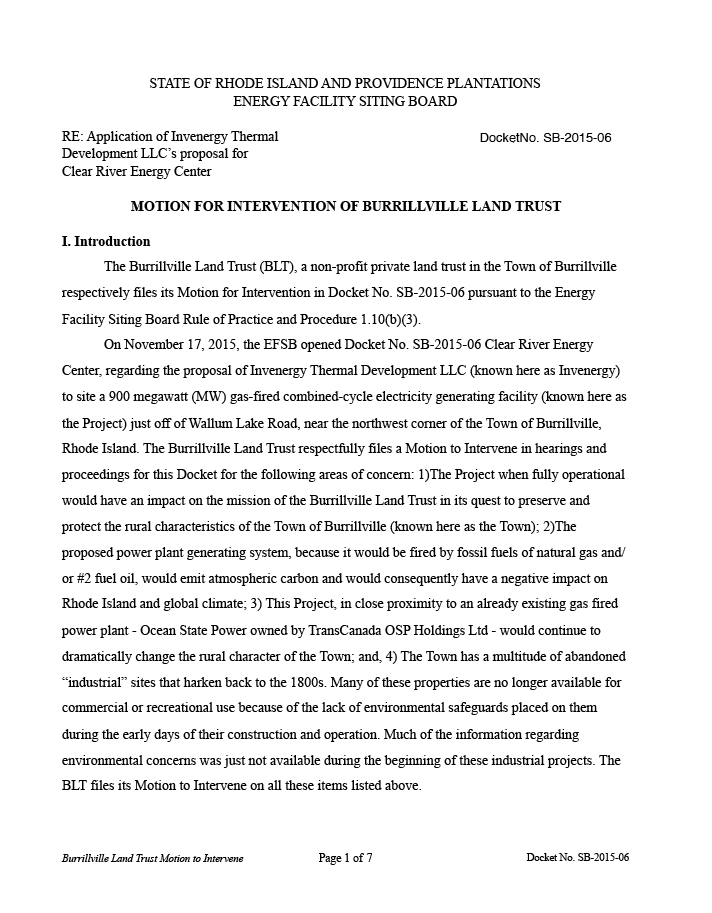 First page of Burrillville Land Trust's motion to intervene in the Clear River Energy Center permitting process.